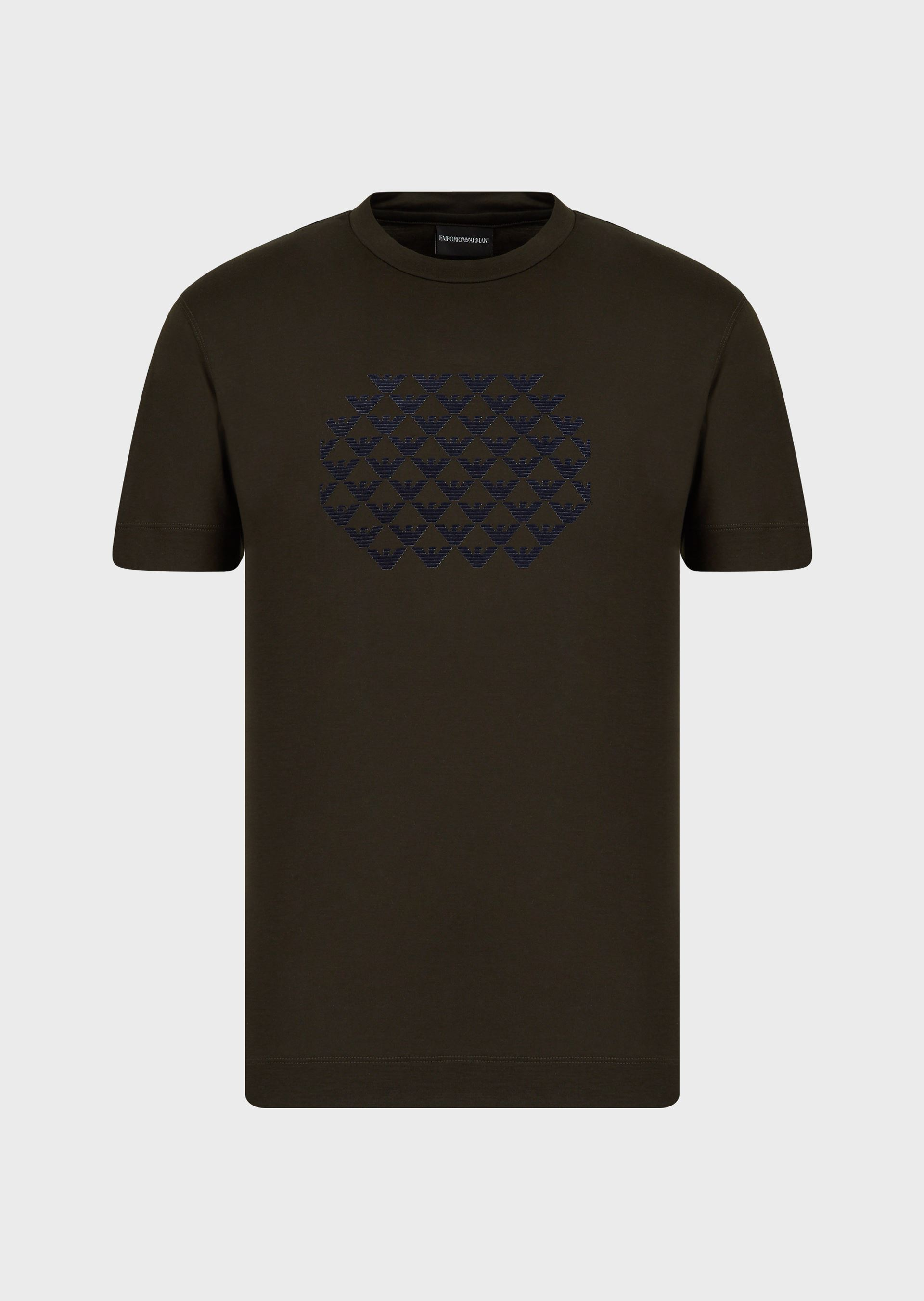 EMPORIO ARMANI Tencel-blend T-shirt with repeated flocked eagles