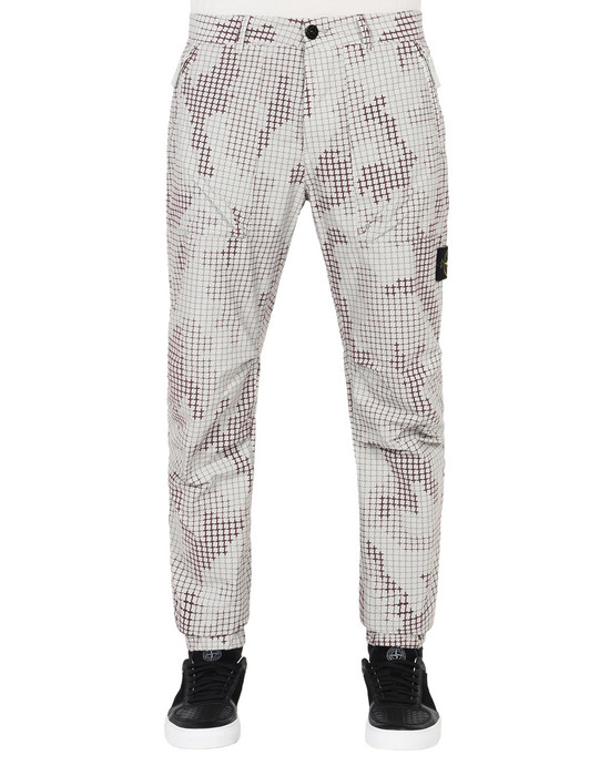 STONE ISLAND Trousers 312E3 FULL COMPACT RIP STOP SI CHECK GRID CAMO