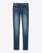 SAINT LAURENT Skinny fit D Mid Waisted Skinny Jean in Dark Vintage Blue Stretch Denim f