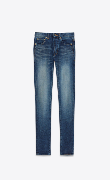 SAINT LAURENT Skinny fit D Mid Waisted Skinny Jean in Dark Vintage Blue Stretch Denim a_V4
