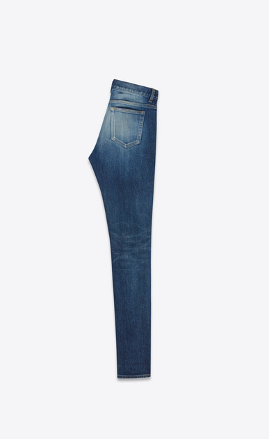SAINT LAURENT Skinny fit D Mid Waisted Skinny Jean in Dark Vintage Blue Stretch Denim b_V4