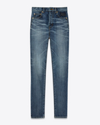 Mid Waisted Embroidered Slim Jean in Medium Blue Denim