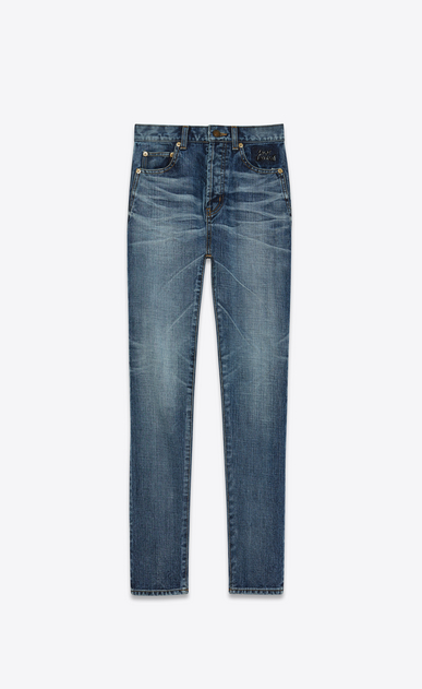 SAINT LAURENT Slim fit D Mid Waisted Embroidered Slim Jean in Medium Blue Denim a_V4