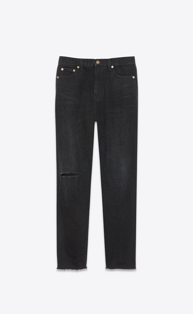 SAINT LAURENT Baggy Damen Baggy-Jeans aus tiefschwarzem Denim a_V4