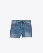 SAINT LAURENT Short Trousers D Slim Embroidered Shorts in Vintage Blue Denim f