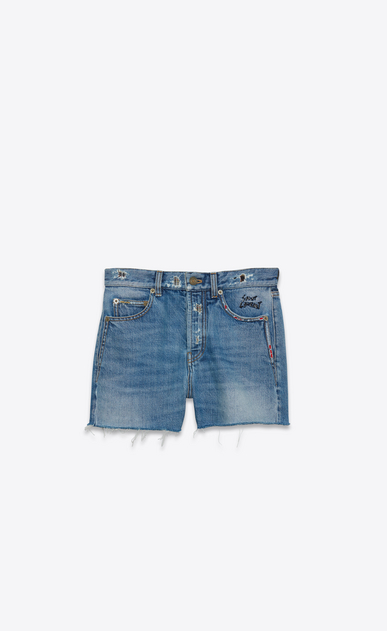 SAINT LAURENT Short Trousers Woman Slim Embroidered Shorts in Vintage Blue Denim a_V4