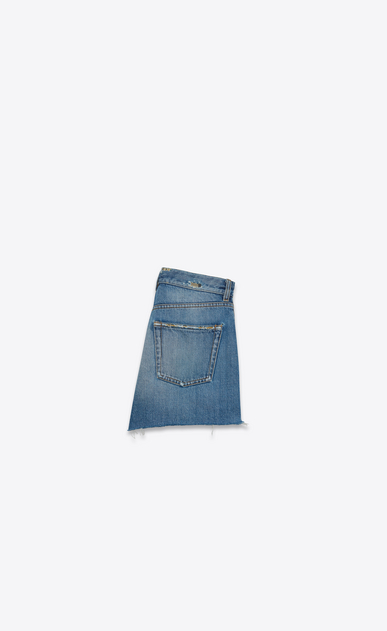 SAINT LAURENT Short Trousers D Slim Embroidered Shorts in Vintage Blue Denim b_V4