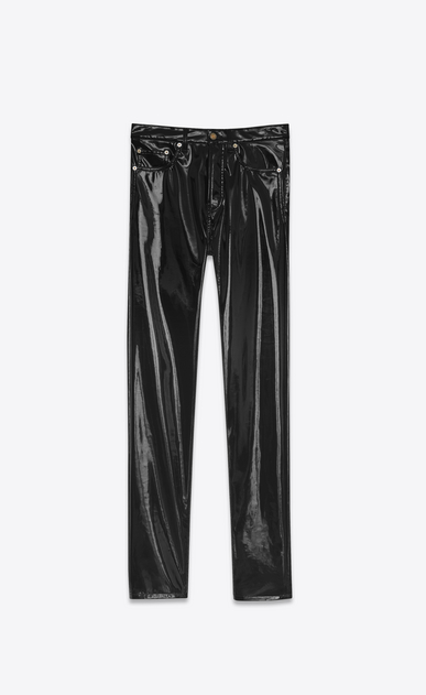 SAINT LAURENT Slim fit D Mid Waisted boyfriend Slim Jean in Black Vinyl a_V4