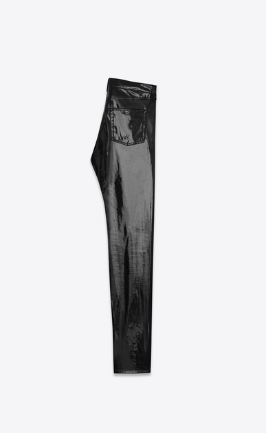 SAINT LAURENT Slim fit D Mid Waisted boyfriend Slim Jean in Black Vinyl b_V4