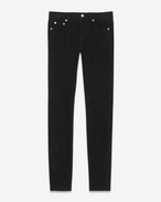 SAINT LAURENT Skinny fit D Jeans skinny a vita bassa neri in scamosciato stretch f