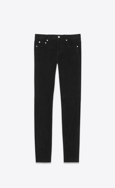 SAINT LAURENT Leather pants Donna Jeans skinny a vita bassa neri in scamosciato stretch a_V4