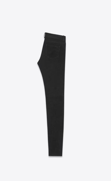 SAINT LAURENT Leather pants Donna Jeans skinny a vita bassa neri in scamosciato stretch b_V4
