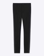 SAINT LAURENT Classic Pant D Iconic LE SMOKING Low Waisted Trouser in Black Grain de Poudre f
