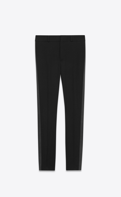 SAINT LAURENT Classic Pant D Iconic LE SMOKING Low Waisted Trouser in Black Grain de Poudre a_V4