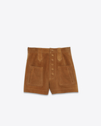 SAINT LAURENT Short Trousers D High Waisted Shorts in Cognac Suede f