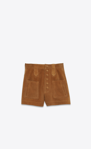 SAINT LAURENT Short Pants Woman High Waisted Shorts in Cognac Suede a_V4