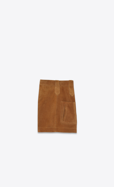 SAINT LAURENT Short Pants Woman High Waisted Shorts in Cognac Suede b_V4