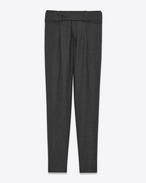 SAINT LAURENT Classic Pant D Low Waisted Cross-Over Belted Trouser in Anthracite Grey Flannel f