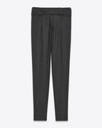 SAINT LAURENT Pantaloni Classici D Pantaloni a vita bassa con cintura cross-over grigio antracite in flanella f
