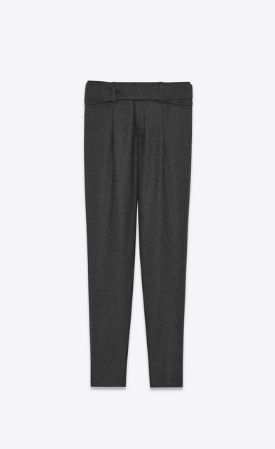 SAINT LAURENT Classic Pant D Low Waisted Cross-Over Belted Trouser in Anthracite Grey Flannel a_V4