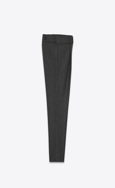 SAINT LAURENT Classic Pant D Low Waisted Cross-Over Belted Trouser in Anthracite Grey Flannel b_V4