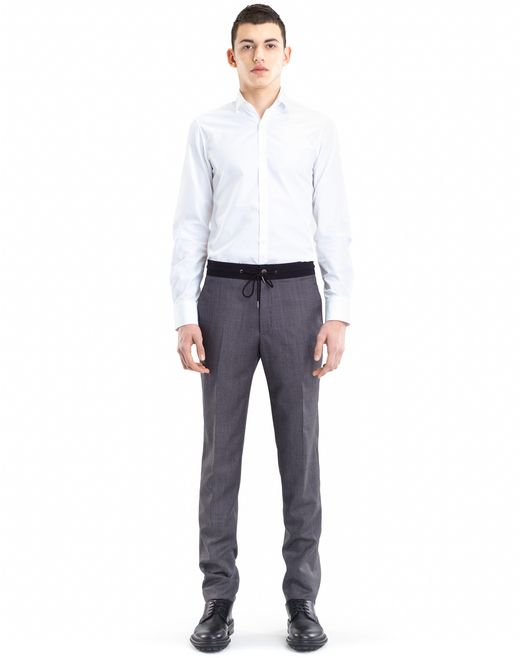 lanvin slim-fit pants with grosgrain belt men