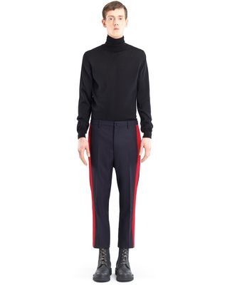 STRAIGHT-LEG TROUSERS WITH RED TRIM