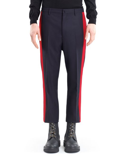 lanvin straight-leg trousers with red trim men