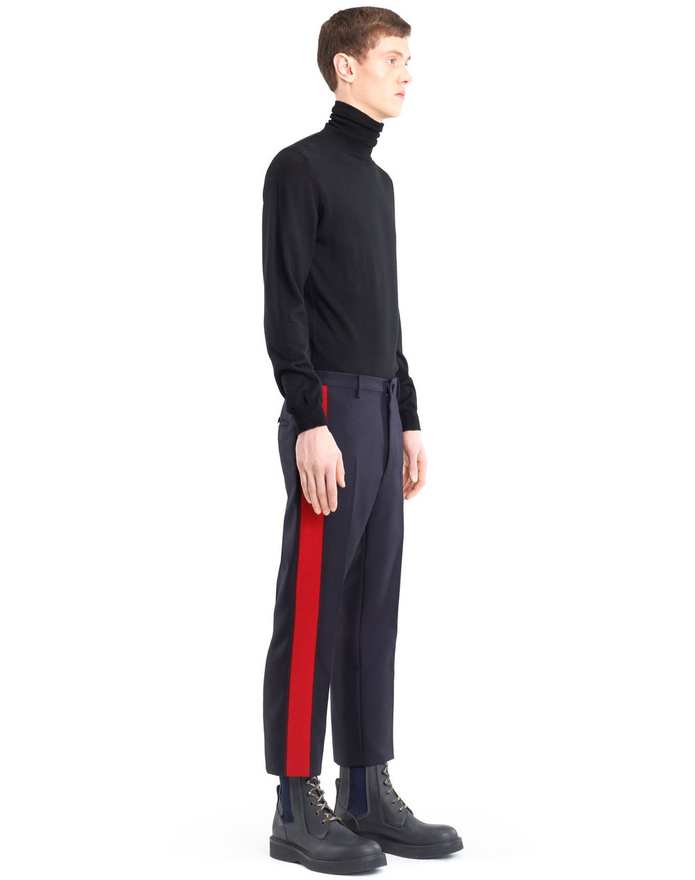 STRAIGHT-LEG PANTS WITH RED TRIM - Lanvin