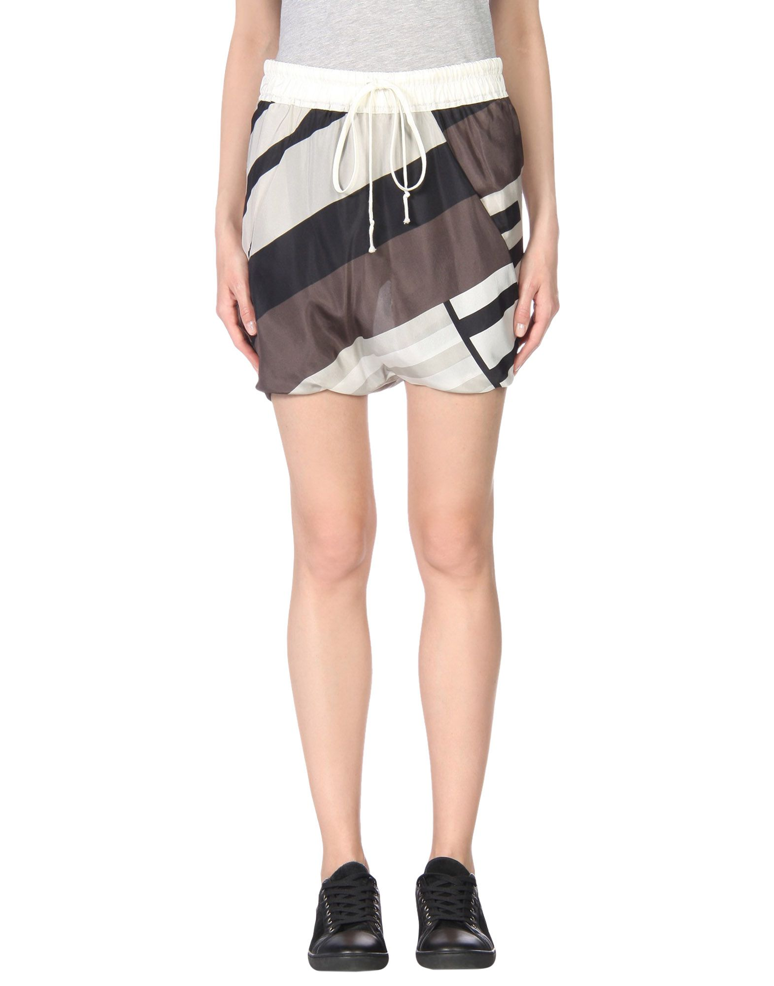 RICK OWENS Mini skirts. satin, multicolor pattern, no appliqués, drawstring closure, lined interior, multipockets, front closure, divided skirt. 100% Silk
