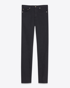 SAINT LAURENT Slim fit U Jean slim en denim stretch noir effet usé f