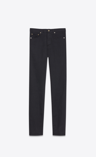 SAINT LAURENT Slim fit Homme Jean slim en denim stretch noir effet usé a_V4