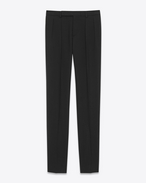 Low Waisted Pleated Trouser in Black Gabardine