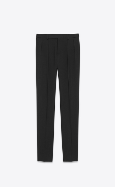 SAINT LAURENT Classic Pant U Low Waisted Pleated Trouser in Black Gabardine a_V4
