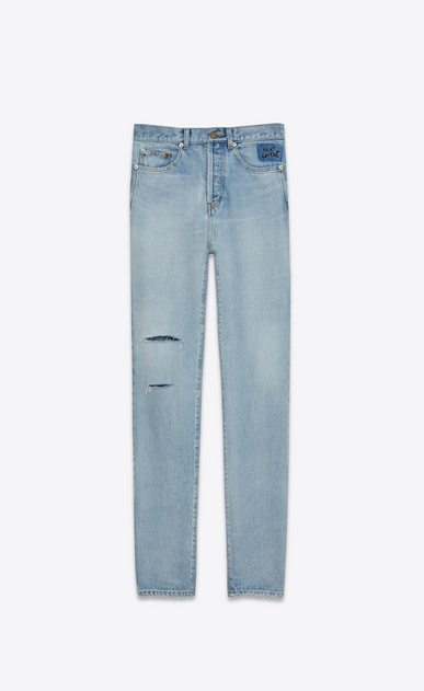 SAINT LAURENT Slim fit U Jean slim à trous brodé en denim bleu clair 70's a_V4