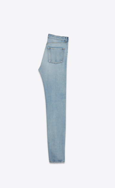 SAINT LAURENT Slim fit U Jean slim à trous brodé en denim bleu clair 70's b_V4
