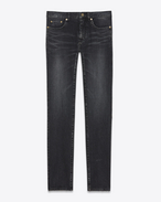 SAINT LAURENT Skinny fit U Low Waisted Skinny Embroidered Jean in Dark Black Denim f