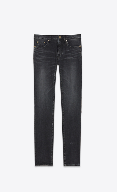 SAINT LAURENT Skinny fit U Low Waisted Skinny Embroidered Jean in washed Black Denim a_V4