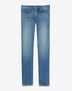 SAINT LAURENT Skinny fit U Low Waisted Skinny Embroidered Jean in Vintage Blue Denim f