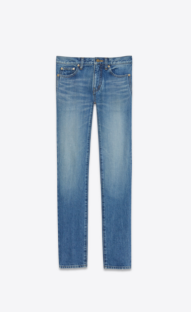 SAINT LAURENT Skinny fit U Low Waisted Skinny Embroidered Jean in Vintage Blue Denim a_V4