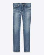 "SAINT LAURENT Skinny fit U Skinny-Hüftjeans aus mittelblauem Denim mit ""SAINT LAURENT UNIVERSITÉ""-Patch f"
