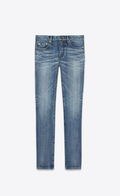 "SAINT LAURENT Skinny fit U Low Waisted Skinny Jean With ""SAINT LAURENT UNIVERSITÉ"" Patch in Medium Blue Denim a_V4"