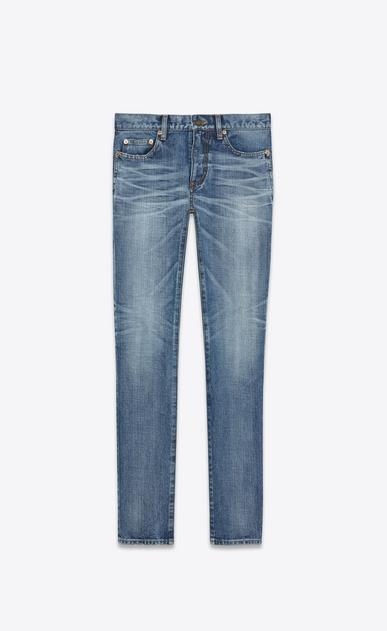 "SAINT LAURENT Skinny fit U Low Waisted Skinny Jean With ""SAINT LAURENT UNIVERSITÉ"" Patch in Medium Blue Denim v4"