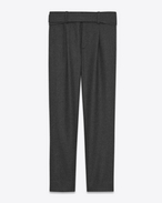 SAINT LAURENT Classic Pant U Military Cross-Over Belted Trouser in Anthracite Grey Flannel f