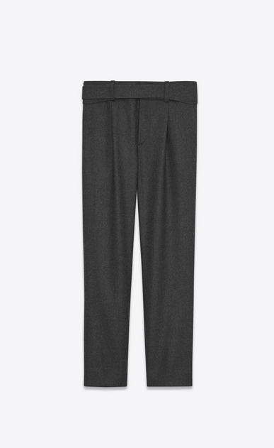 SAINT LAURENT Classic Pant U Military Cross-Over Belted Trouser in Anthracite Grey Flannel a_V4
