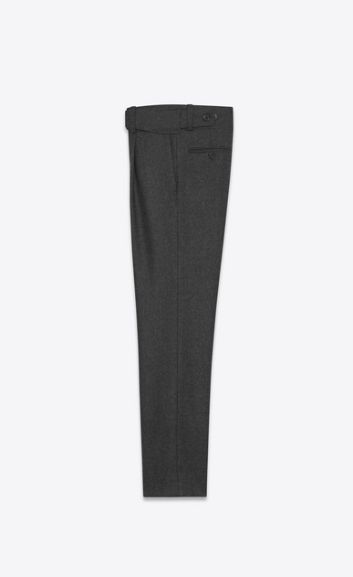 SAINT LAURENT Classic Pant U Military Cross-Over Belted Trouser in Anthracite Grey Flannel b_V4