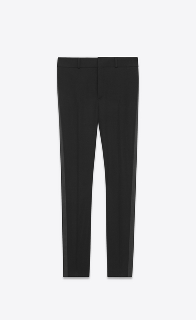 SAINT LAURENT Classic Pant U Iconic LE SMOKING Trouser in Black Grain de Poudre a_V4