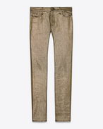 SAINT LAURENT Skinny fit U Low Waisted Skinny Jean in Gold Stretch Denim f