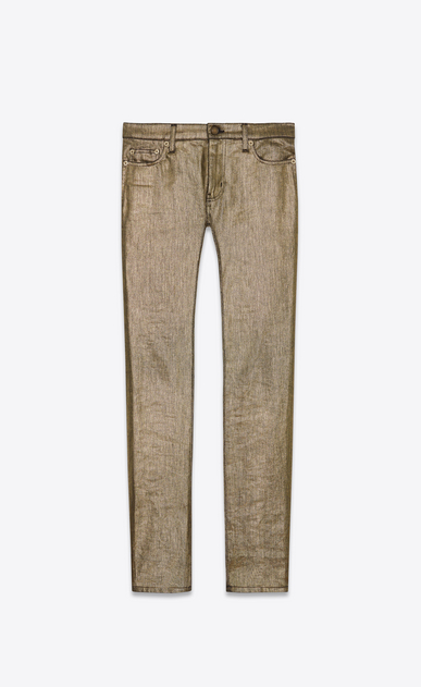 SAINT LAURENT Skinny fit U Jean skinny à taille basse en denim strech or a_V4