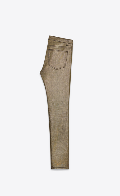 SAINT LAURENT Skinny fit U Low Waisted Skinny Jean in Gold Stretch Denim b_V4